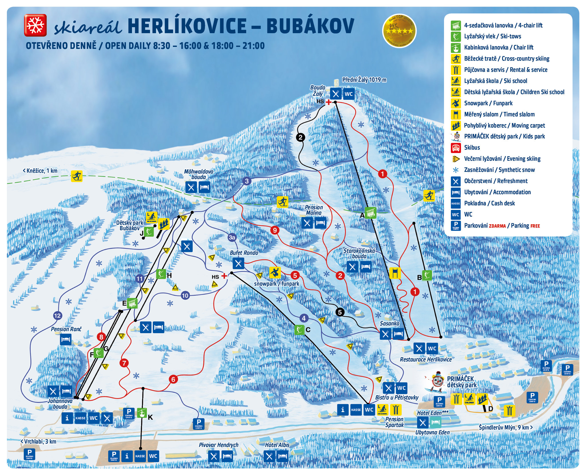 Skiresort map: Herlíkovice & Bubákov